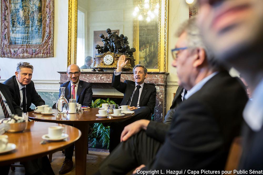 08112016. Paris. Enregistrement de l'émission Territoires d'infos avec Nicolas Sarkozy sur Public Sénat.
