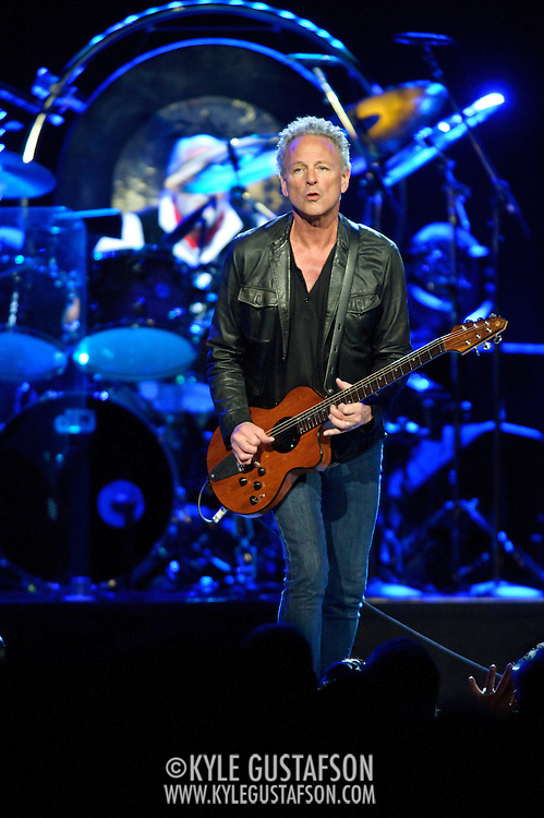 """WASHINGTON, DC - April 9th  2013 -  Lindsey Buckingham of Fleetwood Mac performs at the Verizon Center in Washington, D.C. during the band's 2013 World Tour. Fleetwood Mac, touring for the first time since 2009, is including two new songs in their setlist, """"Sad Angel"""" and """"Without You."""" (Photo by Kyle Gustafson/For The Washington Post)"""