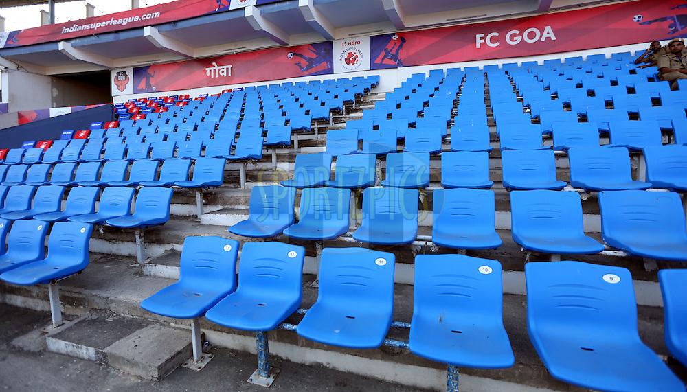 Spectators seat during match 39 of the Indian Super League (ISL) season 2  between FC Goa and Mumbai City FC held at the Jawaharlal Nehru Stadium, Fatorda, Goa, India on the 17th November 2015.<br /> <br /> Photo by Sandeep Shetty / ISL/ SPORTZPICS