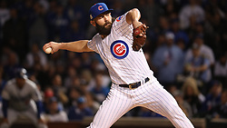 October 18, 2017 - Chicago, IL, USA - Chicago Cubs starting pitcher Jake Arrieta works against the Los Angeles Dodgers in the first inning during Game 4 of the National League Championship Series at Wrigley Field in Chicago on Wednesday, Oct. 18, 2017. (Credit Image: © Brian Cassella/TNS via ZUMA Wire)