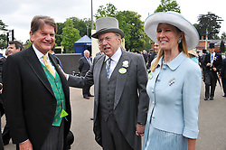 Left to right, SIR JOHN MADJESKI and SIR DAVID & LADY CARINA FROST at day 2 of the 2011 Royal Ascot Racing festival at Ascot Racecourse, Ascot, Berkshire on 15th June 2011.