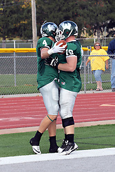 12 October 2013:  Tate Musselman and Nicholas Lucie celebrate in the end zone after a Musselman touchdown catch during an NCAA division 3 football game between the North Park vikings and the Illinois Wesleyan Titans in Tucci Stadium on Wilder Field, Bloomington IL