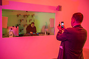 The Information Centre, 2018, with DJ's from Cool London broadcasting inside - Eddie Peake 'Concrete Pitch', a new exhibition, in the South Gallery, White Cube Bermondsey.
