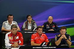 10.10.2014, Sochi Autodrom, Sotschi, RUS, FIA, Formel 1, Grosser Preis von Russland, Training, im Bild (L to R): Eric Boullier (FRA) McLaren Racing Director, Monisha Kaltenborn (AUT) Sauber Team Prinicpal,fto, Marco Mattiacci (ITA) Ferrari Team Principal, Graeme Lowdon (GBR) Marussia F1 President and Sporting Director and Christian Horner (GBR) Red Bull Racing Team Principal. // during the Practice of the FIA Formula 1 Russia Grand Prix at the Sochi Autodrom in Sotschi, Russia on 2014/10/10. EXPA Pictures © 2014, PhotoCredit: EXPA/ Sutton Images/ Lundin<br /> <br /> *****ATTENTION - for AUT, SLO, CRO, SRB, BIH, MAZ only*****