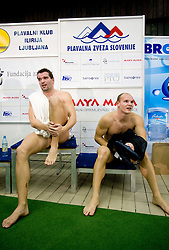 Peter Mankoc of PK Ilirija (SLO) and second placed Evgeny Korotyshkin (RUS) after the 50m Butterfly during swimming competition Ilirija Challenge 2009, on December 16, 2009, in Tivoli pool, Ljubljana, Slovenia. (Photo by Vid Ponikvar / Sportida)