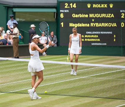 GARBI&Ntilde;E MUGURUZA und MAGDALENA RYBARIKOVA<br /> <br /> Tennis - Wimbledon 2017 - Grand Slam ITF / ATP / WTA -  AELTC - London -  - Great Britain  - 13 July 2017.
