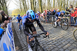 Gianni Moscon (ITA) Team Sky on the 2nd ascent of the Kemmelberg during the 2019 Gent-Wevelgem in Flanders Fields running 252km from Deinze to Wevelgem, Belgium. 31st March 2019.<br /> Picture: Eoin Clarke | Cyclefile<br /> <br /> All photos usage must carry mandatory copyright credit (&copy; Cyclefile | Eoin Clarke)