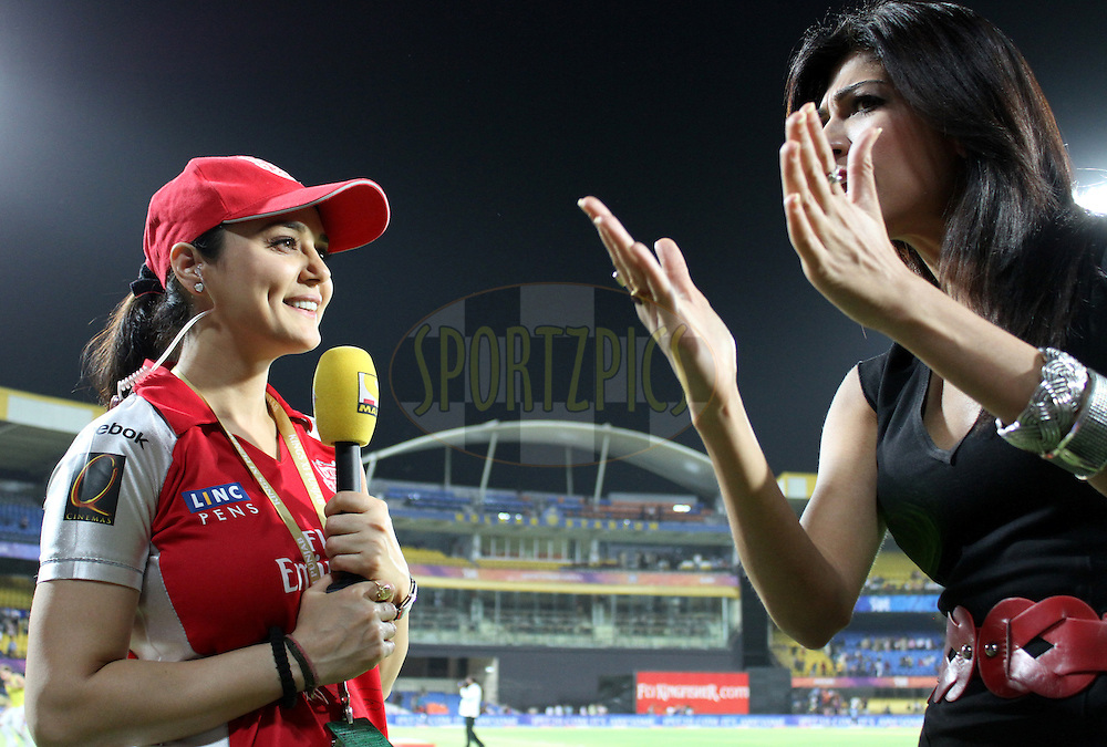 Prety Zinta on Sony Max after winning match 57 of the Indian Premier League ( IPL ) Season 4 between the Kochi Tuskers Kerala and the Kings XI Punjab held at the Holkar Stadium in Indore, Madhya Pradesh, India on the 13th May  2011..Photo by Prashant Bhoot/BCCI/SPORTZPICS