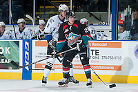 KELOWNA, CANADA - SEPTEMBER 28:  Austin Glover #20 of the Kelowna Rockets looks for the pass against the Victoria Royals  at the Kelowna Rockets on September 28, 2013 at Prospera Place in Kelowna, British Columbia, Canada (Photo by Marissa Baecker/Shoot the Breeze) *** Local Caption ***