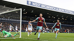 Burnley's Chris Wood celebrates scoring his side's second goal of the game during the Premier League match at The Hawthorns, West Bromwich.
