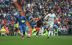 April 29, 2017 - Madrid, Spain - MADRID, SPAIN. APRIL 29th, 2017 - Valecia's goalkeeper Diego Alves in action. La Liga Santander matchday 35 game. Real Madrid defeated 2-1 Valencia with goals scored by Cristiano Ronaldo (26th minute) and Marcelo (86th minute). Parejo (82nd minute) scored for Valencia. Santiago Bernabeu Stadium. Photo by Antonio Pozo | PHOTO MEDIA EXPRESS (Credit Image: © Antonio Pozo/VW Pics via ZUMA Wire/ZUMAPRESS.com)