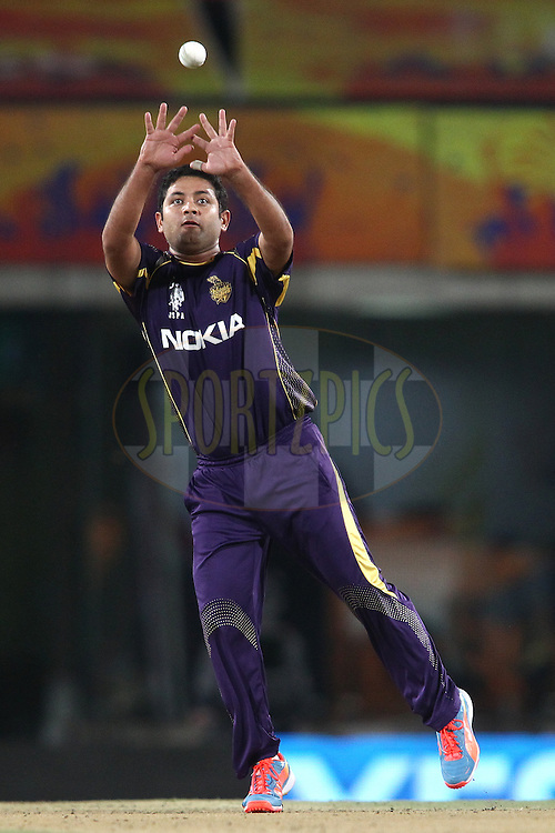 Piyush Chawla of the Kolkata Knight Riders  fields the ball off his own bowling during match 21 of the Pepsi Indian Premier League Season 2014 between the Chennai Superkings and the Kolkata Knight Riders  held at the JSCA International Cricket Stadium, Ranch, India on the 2nd May  2014<br /> <br /> Photo by Shaun Roy / IPL / SPORTZPICS<br /> <br /> <br /> <br /> Image use subject to terms and conditions which can be found here:  http://sportzpics.photoshelter.com/gallery/Pepsi-IPL-Image-terms-and-conditions/G00004VW1IVJ.gB0/C0000TScjhBM6ikg