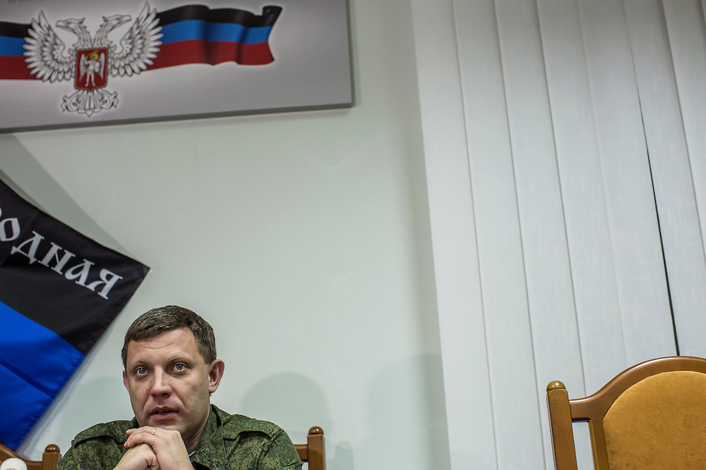 DONETSK, UKRAINE - FEBRUARY 2, 2015: Aleksandr Zakharchenko, head of the Donetsk People's Republic, speaks at a news conference in Donetsk, Ukraine. With peace talks scheduled in the Belarussian capital of Minsk over the weekend that never got underway, Zakharchenko and the head of the Luhansk People's Republic, Igor Plotnitsky, stated that their representatives refused to participate due to the fact that  Ukraine sent as their representative Leonid Kuchma, a former president of Ukraine with no current government post. CREDIT: Brendan Hoffman for The New York Times