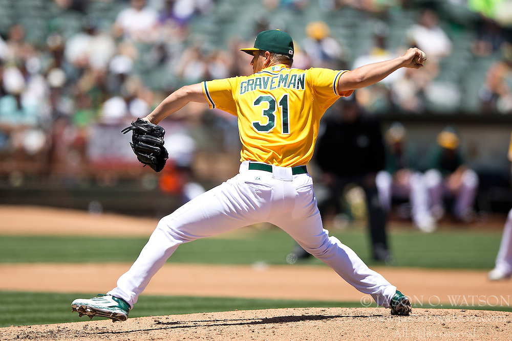 OAKLAND, CA - JUNE 18:  Kendall Graveman #31 of the Oakland Athletics pitches against the San Diego Padres during the fourth inning at O.co Coliseum on June 18, 2015 in Oakland, California. The San Diego Padres defeated the Oakland Athletics 3-1. (Photo by Jason O. Watson/Getty Images) *** Local Caption *** Kendall Graveman