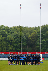 Bristol Rugby huddle on the pitch after arriving - Mandatory byline: Rogan Thomson/JMP - 18/05/2016 - RUGBY UNION - Castle Park - Doncaster, England - Doncaster Knights v Bristol Rugby - Greene King IPA Championship Play Off FINAL 1st Leg.