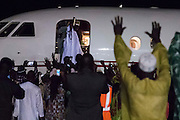 BANJUL, GAMBIA - JAN 21: Gambia's Yaya Jammeh waves from the plane as he leaves Gambia on 21 January 2017 in Banjul, Gambia.. AFP PHOTO / STRINGER