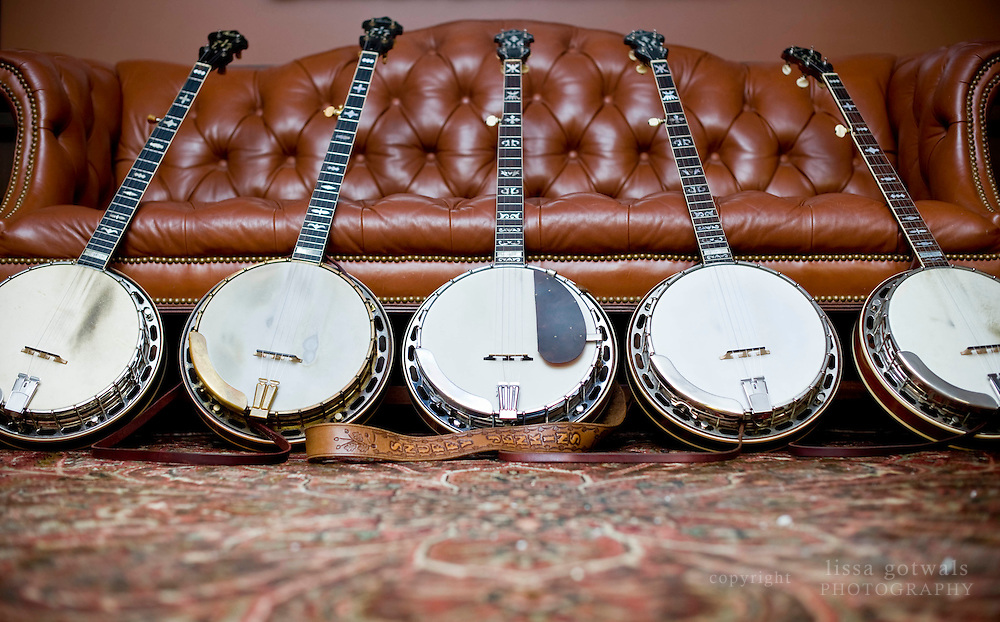 Jim Mills most beloved banjos; the Posie Roach banjo, The Mack Crow Banjo, The Snuffy Jenkins Banjo, and 2 more original flathead mastertones.