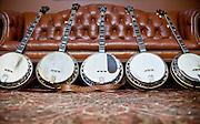 Jim Mills most beloved banjos; the Posie Roach banjo, The Mack Crow Banjo, The Snuffy Jenkins Banjo, and 2 more original flathead mastertones.