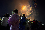 Festival crowds at the Yodogawa Fireworks Festival, Osaka 2013