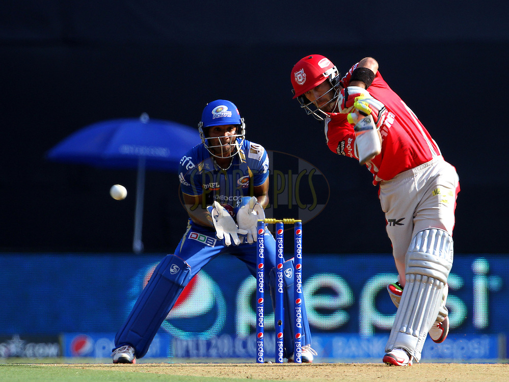 Glenn Maxwell of the Kings X1 Punjab plays a shot during match 22 of the Pepsi Indian Premier League Season 2014 between the Mumbai Indians and the Kings XI Punjab held at the Wankhede Cricket Stadium, Mumbai, India on the 3rd May  2014<br /> <br /> Photo by Vipin Pawar / IPL / SPORTZPICS<br /> <br /> <br /> <br /> Image use subject to terms and conditions which can be found here:  http://sportzpics.photoshelter.com/gallery/Pepsi-IPL-Image-terms-and-conditions/G00004VW1IVJ.gB0/C0000TScjhBM6ikg