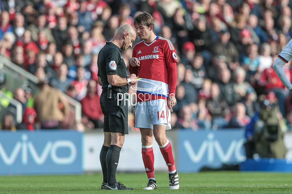 Roger East (Middlesbrough) books Marten De Roon (Middlesbrough) during the Premier League match between Middlesbrough and Watford at the Riverside Stadium, Middlesbrough, England on 16 October 2016. Photo by Mark P Doherty.