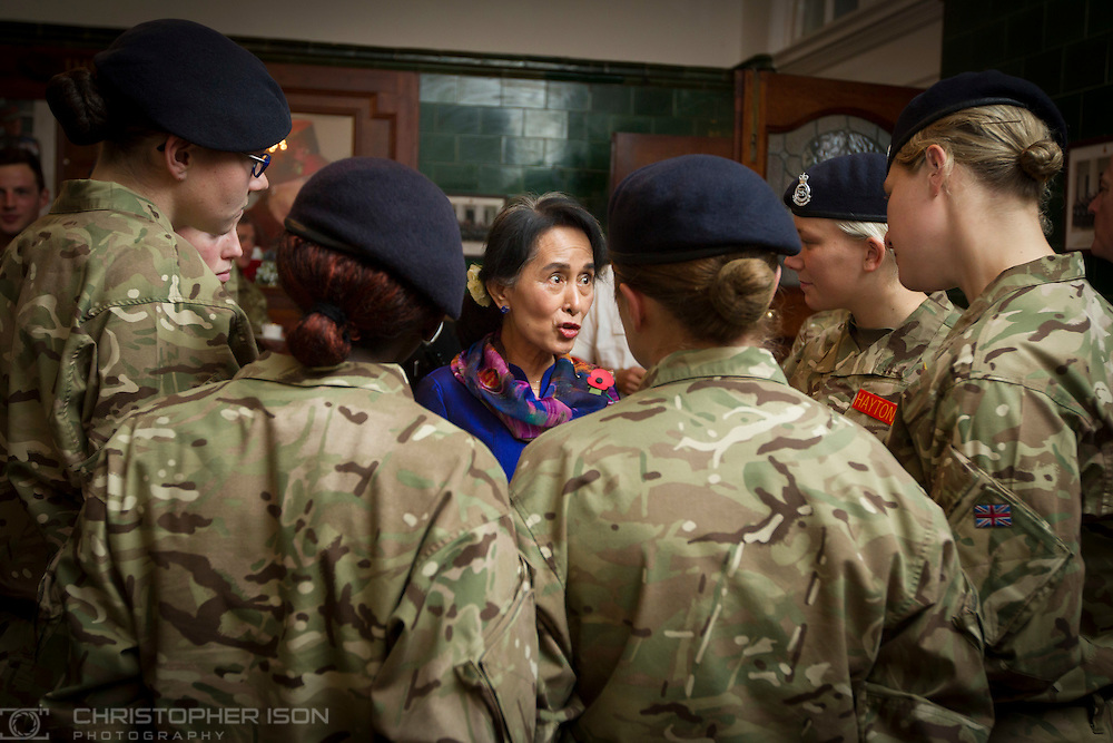 Burmese opposition leader Aung San Suu Kyi joins officer cadets for tea at the Royal Military Academy Sandhurst in Camberley, Surrey.
