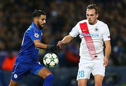 Riyad Mahrez of Leicester City takes on Laurens de Bock of Club Brugge - Mandatory by-line: Matt McNulty/JMP - 22/11/2016 - FOOTBALL - King Power Stadium - Leicester, England - Leicester City v Club Brugge - UEFA Champions League