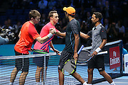 Henri Kontinen (Finland) and John Peers (Australia) acknowledge Raven Klassen (South Africa) and Rajeev Ram (USA) during the doubles final of the Barclays ATP World Tour Finals at the O2 Arena, London, United Kingdom on 20 November 2016. Photo by Phil Duncan.