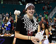 Stanford Cardinal forward Alanna Smith (11) enjoying the celebration of being named (MOP) Most Outstanding Player of the championship game of the Pac-12 Conference women's basketball tournament Sunday, Mar. 10, 2019 in Las Vegas.  Stanford defeated Oregon 64-57. (Gerome Wright/Image of Sport)