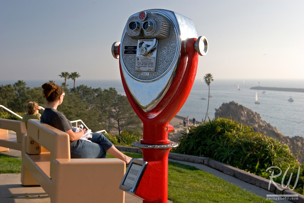Binoculars and Women Sitting on Benches at Inspiration Point, Corona Del Mar, California