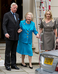 Margaret Thatcher on her 86th birthday with her son Mark and daughter-in-law Sarah, on their way to a birthday lunch in London, Thursday, 13th October 2011. Photo by: i-Images