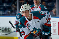 KELOWNA, CANADA - JANUARY 30: Ethan Ernst #19 of the Kelowna Rockets warms up against the Seattle Thunderbirds on January 30, 2019 at Prospera Place in Kelowna, British Columbia, Canada.  (Photo by Marissa Baecker/Shoot the Breeze)