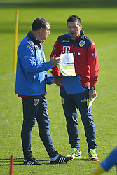 November 13, 2017 - Mogosoaia, Romania - Romania's coach Cosmin Contra and the second coach Jerry Gane of Romania Football Team during a training session at Mogosoaia, Romania on 13 November 2017. (Credit Image: © Alex Nicodim/NurPhoto via ZUMA Press)