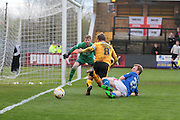 Cambridge No 8 and captain Luke Berry gets in a shot in the Sky Bet League 2 match between Cambridge United and Carlisle United at the R Costings Abbey Stadium, Cambridge, England on 16 April 2016. Photo by Nigel Cole.