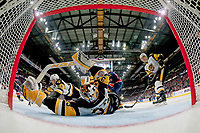 REGINA, SK - MAY 25: Kaden Fulcher #33 of Hamilton Bulldogs makes a first period save against the Regina Pats at the Brandt Centre on May 25, 2018 in Regina, Canada. (Photo by Marissa Baecker/CHL Images)