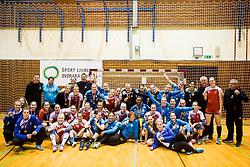 Players of RK Celje and RK Krim celebrate after the handball match between RK Krim Mercator and ZRK Z'Dezele Celje in Last Round of Slovenian National Championship 2016/17, on April 18, 2017 in Arena Galjevica, Ljubljana, Slovenia. Photo by Vid Ponikvar / Sportida