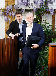 © Licensed to London News Pictures. 19/04/2017. London, UK. Labour party leader JEREMY CORBYN seen leaving his London home with his Head of Strategic Communications JAMES SCHNEIDER, the morning after British prime minister Theresa May announced plans for a snap general election. Photo credit: Tolga Akmen/LNP