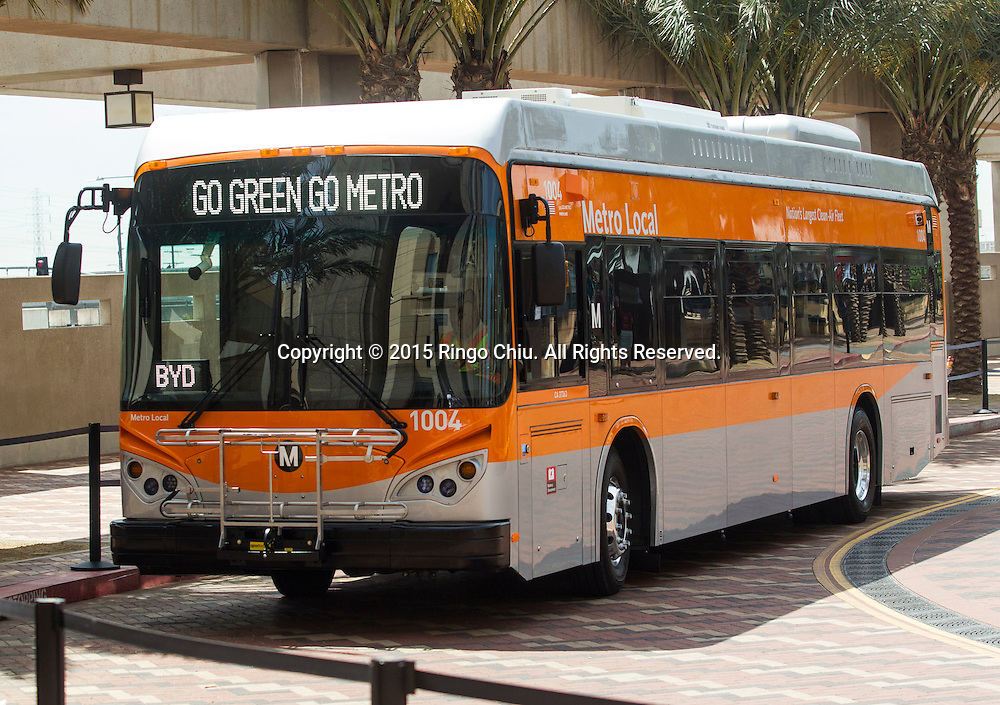 An all-electric Metro bus is parked in a news conference in front of Metro Headquarters on Thursday, April 30, 2015 in Los Angeles. BYD, Ltd. has delivered five all-electric buses to the Los Angeles County Metropolitan Transportation Authority (Metro) for testing. These are the first of as many as 25 zero emissions buses being built for Metro in Lancaster, Calif. (Photo by Ringo Chiu/PHOTOFORMULA.com)