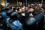 Garry Kasparov, the former world chess champion who now leads one of Russia's strongest opposition movements, protests to Russia's special forces moments before he and at least 100 other activists were arrested. .They gathered for a forbidden anti-Kremlin demonstration in central Moscow..The demonstration, one in a series of so-called Dissenters' Marches, increased tension between opposition supporters who complain the Kremlin is cracking down on political dissent and authorities who vow to block any unauthorized demonstrations.