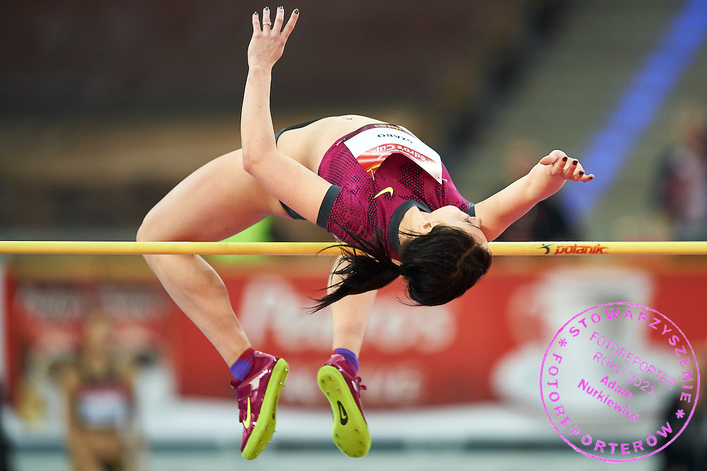 Barbara Szabo from Hungary competes in women's high jump competition during athletics meeting Pedro's Cup at Atlas Arena in Lodz, Poland.<br /> <br /> Poland, Lodz, February 17, 2015<br /> <br /> Picture also available in RAW (NEF) or TIFF format on special request.<br /> <br /> For editorial use only. Any commercial or promotional use requires permission.<br /> <br /> Adam Nurkiewicz declares that he has no rights to the image of people at the photographs of his authorship.<br /> <br /> Mandatory credit:<br /> Photo by &copy; Adam Nurkiewicz / Mediasport
