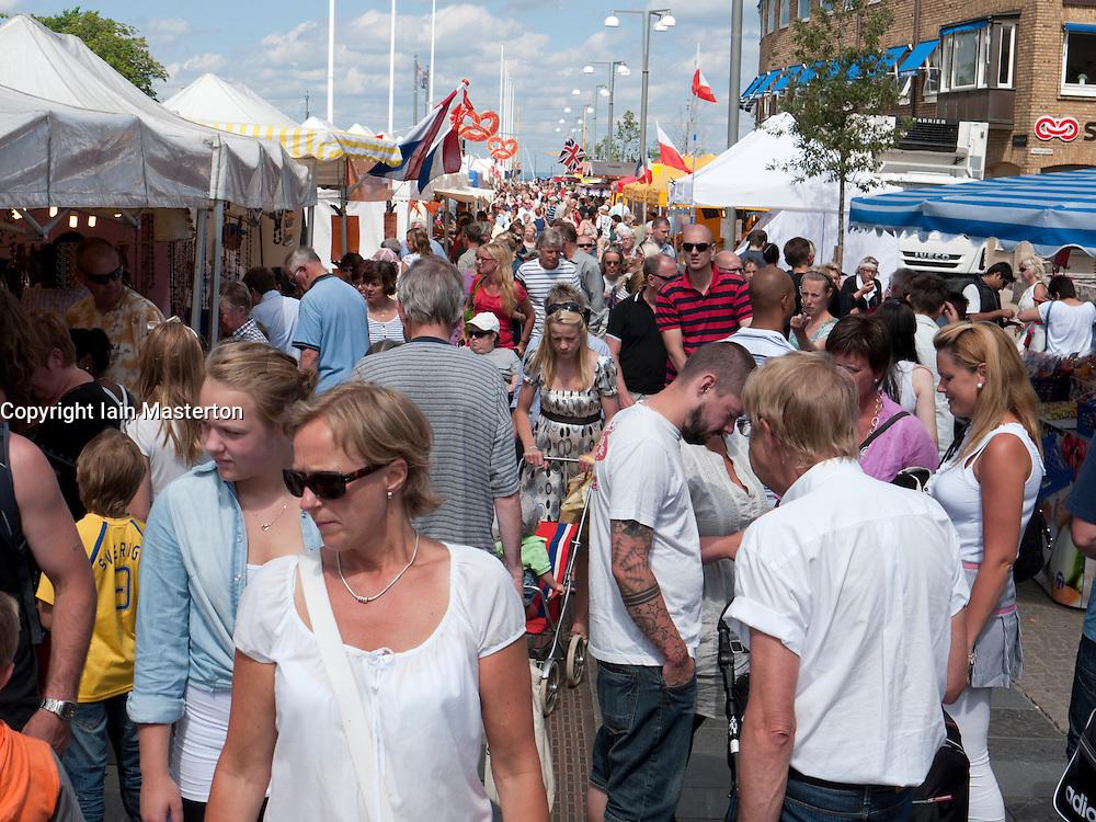 View of busy street market during International  food festival in Jonkoping in Sweden