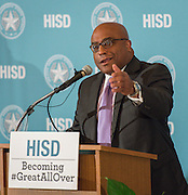 Dr. Michael Edwards, Acting President of HCC Coleman College for Health Sciences, comments during a media conference announcing a partnership between Jones Futures Academy and the Prairie View A&M Nursing School, April 15, 2015.