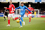 Peterborough Utd forward Matthew Godden (9) gets in an early shot during the EFL Sky Bet League 1 match between Peterborough United and Charlton Athletic at London Road, Peterborough, England on 26 January 2019.