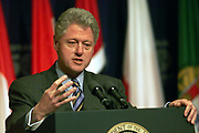 William Jefferson 'Bill' Clinton (born 1946) 42nd President of the United States of America 1993-2001, giving a press conference in the Amphitheater of the ITC Reagan Building.