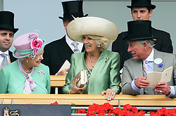 The Queen in the Royal Box with the Duchess of Cornwall and Prince of Wales on the second day of Royal Ascot, Wednesday,19th June 2013<br /> Picture by Stephen Lock / i-Images