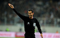 Football Fifa Brazil 2014 World Cup Matchs-Qualifier / Europe - Play-Off -1 Leg / <br /> Greece vs Romania 3-1  ( Karaiskaki Stadium  , Athens-Pireus , Greece ) <br /> The Referee - Pedro PROENCA , gesture during the match between Greece and Romania