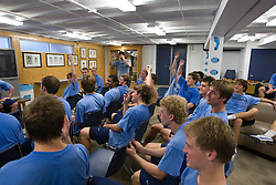 11 October 2007: North Carolina Tar Heels men's lacrosse members in the team room work on voting for a new motto for the upcoming season.  Taken in Chapel Hill, NC.