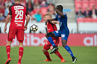 Fotball<br /> 28.05.2017<br /> Eliteserien<br /> Brann Stadion<br /> Brann - Aalesund<br /> Kristoffer Barmen (L) og Sivert Heltne Nilsen (M) , Brann<br /> Edwin Oppong Anane-Gyasi (R) , Aalesund<br /> Foto: Astrid M. Nordhaug