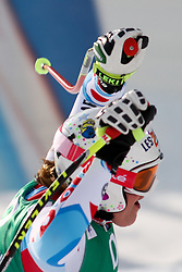 10.02.2013, Planai, Schladming, AUT, FIS Weltmeisterschaften Ski Alpin, Abfahrt, Damen, im Bild Marion Rolland (FRA), 1. Plaz // Marion Rolland of France, 1st place, reacts after her run of womens Downhill during FIS Ski World Championships 2013 at the Planai Course, Schladming, Austria on 2013/02/10. EXPA Pictures © 2013, PhotoCredit: EXPA/ Martin Huber