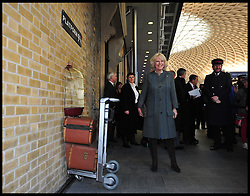 Charles and Camilla tried to get to Harry Potter's platform 9 and three quarters at Kings Cross as Prince Charles and The Duchess of Cornwall arrive at Kings Cross Station after a ride on a Tube Train on London's Underground from Farringdon to Kings Cross, Wednesday January 30, 2013, to celebrate 150 years of the London Underground. Photo By Andrew Parsons / i-Images